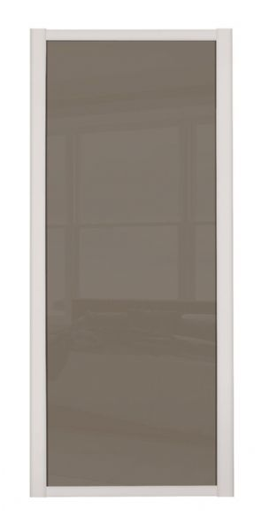 Shaker Sliding Wardrobe Door- CASHMERE FRAME- CAPPUCCINO GLASS SINGLE PANEL